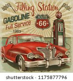 filling station retro poster | Shutterstock . vector #1175877796