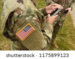 us soldiers use smartphones | Shutterstock . vector #1175899123