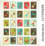 christmas alphabet with cute... | Shutterstock .eps vector #117590698