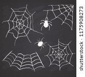 spider web set hand drawn... | Shutterstock .eps vector #1175908273