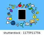 white tablet and icons showing... | Shutterstock . vector #1175911756