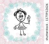 girl with ice cream. vector... | Shutterstock .eps vector #1175912626