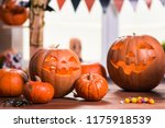 happy halloween. background in... | Shutterstock . vector #1175918539