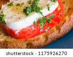 bruschetta caprese on a blue... | Shutterstock . vector #1175926270