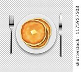 plate with fork and knife with...   Shutterstock .eps vector #1175927503
