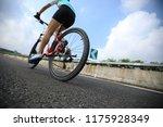 woman cyclist riding mountain...   Shutterstock . vector #1175928349