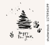 hand drawn ink christmas and... | Shutterstock .eps vector #1175934199
