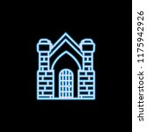 crypt building icon in neon...