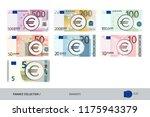 Euro Banknotes Set. Flat Style...