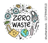 Zero Waste. Hand Drawn Vector...