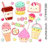 set of cute sweet icons in... | Shutterstock .eps vector #1175949280