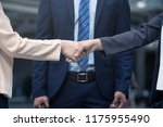 business people shakes hands... | Shutterstock . vector #1175955490