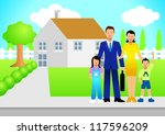 illustration of a family in... | Shutterstock . vector #117596209