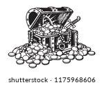 old wooden chest full of golden ... | Shutterstock .eps vector #1175968606
