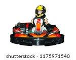 a little girl in a helmet in... | Shutterstock . vector #1175971540