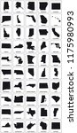 black silhouette maps of 50 us... | Shutterstock .eps vector #1175980993