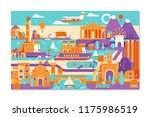 vector greece island summer... | Shutterstock .eps vector #1175986519