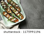 baking dish with fried eggplant ... | Shutterstock . vector #1175991196