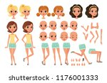 teenager girl character... | Shutterstock .eps vector #1176001333