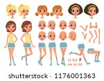 cirl character creation set ... | Shutterstock .eps vector #1176001363