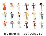 multitasking people set with... | Shutterstock .eps vector #1176001366