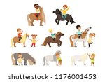 cute little children riding... | Shutterstock .eps vector #1176001453