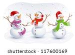 funny snowmen | Shutterstock .eps vector #117600169