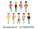 set of cute boys characters... | Shutterstock .eps vector #1176001990