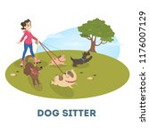 Stock vector female dog sitter walking with cute pets girl on rollerblades walking with group of dogs vector 1176007129