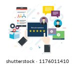 rating system on tablet screen... | Shutterstock .eps vector #1176011410