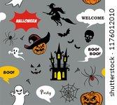 seamless pattern halloween... | Shutterstock .eps vector #1176012010