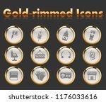 tatoo salon gold rimmed vector... | Shutterstock .eps vector #1176033616
