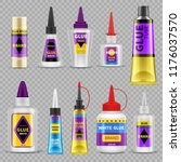 glue tubes. adhesive stick and... | Shutterstock .eps vector #1176037570