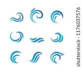 wave emblems. ocean water... | Shutterstock .eps vector #1176037576