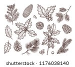 christmas plants. sketch fir... | Shutterstock .eps vector #1176038140