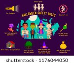halloween safety rules for kids ... | Shutterstock .eps vector #1176044050