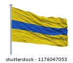 Ottignies Lln City Flag On Flagpole, Country Belgium, Isolated On White Background, 3D Rendering