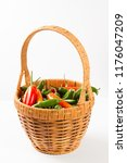 peppers in a picnic basket... | Shutterstock . vector #1176047209