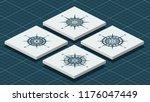 set of blue vintage compass... | Shutterstock .eps vector #1176047449