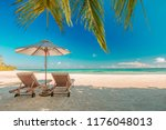 beautiful beach. chairs on the... | Shutterstock . vector #1176048013