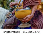 view of monk's alms bowl on the ... | Shutterstock . vector #1176052570