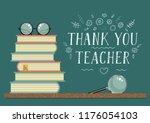 thank you teacher. stack of...   Shutterstock .eps vector #1176054103
