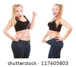 Small photo of Before and after a diet, girl surprised by measuring waist