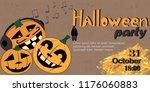 halloween party. vector... | Shutterstock .eps vector #1176060883