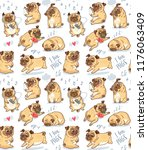 seamless pattern with cute and... | Shutterstock .eps vector #1176063409