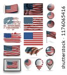 set of usa flags collection... | Shutterstock .eps vector #1176065416