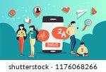 online translator in mobile... | Shutterstock .eps vector #1176068266