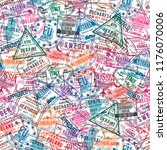 passport visa stamps  seamless... | Shutterstock .eps vector #1176070006