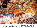 different kind of nuts and dry... | Shutterstock . vector #1176074083