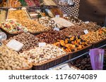 different kind of nuts and dry... | Shutterstock . vector #1176074089